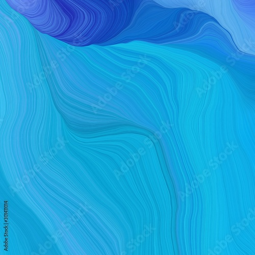 Fototapety, obrazy: quadratic graphic illustration with dodger blue, strong blue and corn flower blue colors. abstract colorful waves motion. can be used as wallpaper, background graphic or texture