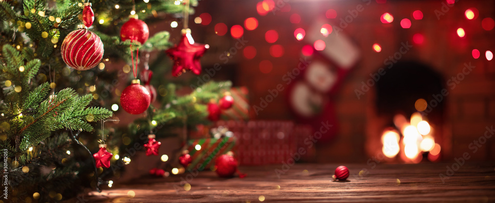 Fototapety, obrazy: Christmas Tree with Decorations