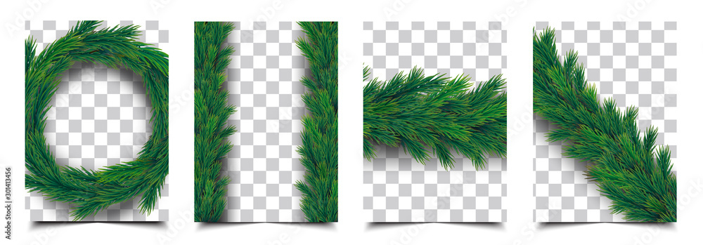 Fototapeta 3d Realistic christmas tree branch garland isolated vector collection, christmas background cover template