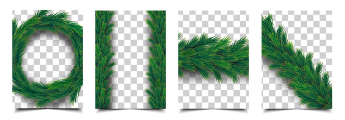 3d Realistic christmas tree branch garland isolated vector collection, christmas background cover template