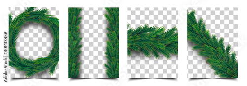 Obraz 3d Realistic christmas tree branch garland isolated vector collection, christmas background cover template - fototapety do salonu