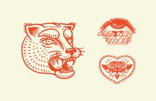 Old School Tattoo Stickers. Pa...
