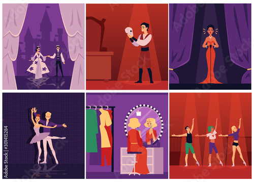 Obraz Dramatic theater actors, singers and ballet dancers on stage set of flat vector illustrations. - fototapety do salonu