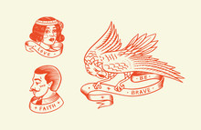 Old School Tattoo. Hipster Man And Woman And Eagle. Engraved Hand Drawn Vintage Retro Sketch For Badge Or Logo.