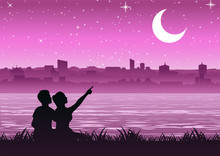 Couple Pointing To  The Moon Above The City Near A Riverside, Silhouette Style