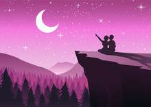 Couple Pointing To The Moon In A Night With Stars Sitting On Cliff And Close To A Pine Forest,silhouette Style