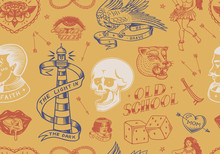 Old School Tattoo Seamless Pattern. Hawaiian Hula Dancer Woman, Lighthouse, Panther, Skull And Snake. Engraved Hand Drawn Sketch For Print.