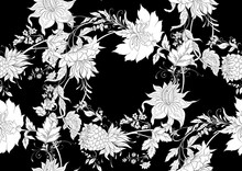 Fantasy Flowers In Retro, Vintage, Jacobean Embroidery Style. Seamless Pattern Background. Black And White Graphics Vector Illustration