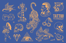 Old School Tattoo Stickers Set...