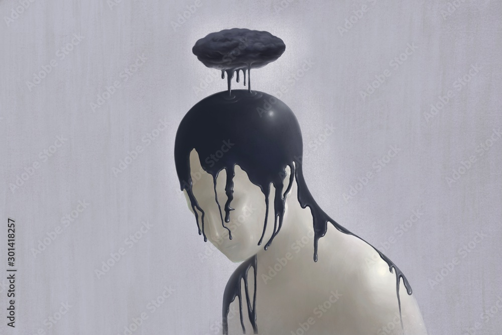 Fototapety, obrazy: Surreal scene of Sad and depression human concept, alone, lonely, emotion, fantasy painting illustration