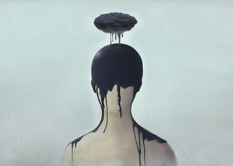 Surreal scene of Sad and depression human concept, alone, lonely, emotion, fantasy painting illustration