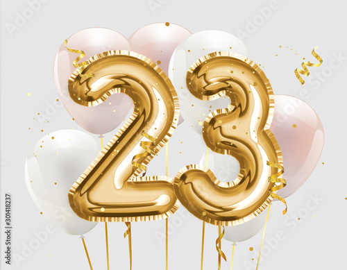 Papel de parede Happy 23th birthday gold foil balloon greeting background