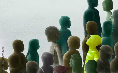 Fotomural  Freedom contrast  unique hope concept, surreal scene bright green man looking at