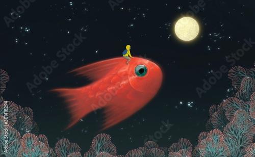 Obraz Fantasy scene boyriding red giant fish to the moon in starry night landscape, fantasy illustartion, freedom, painting, imagination - fototapety do salonu