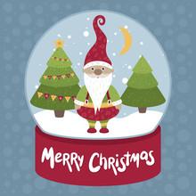 Merry Christmas Vector Illustration. Santa In Snow Globe.