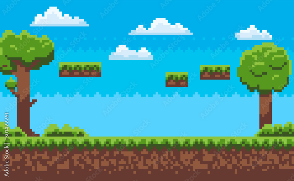 Fototapety, obrazy: Landscape page of pixel game, green trees and bushes, cloudy sky, underground and grass, road with steps, adventure platform, nobody poster vector. Pixeleted background for video-game or app 8bit game