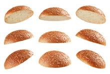 Burger Bun Tops Flying On Whit...