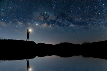 Landscape with Milky way, Milky way background