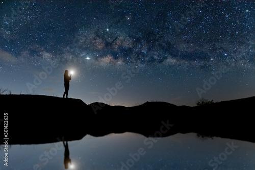 Landscape with Milky way, Milky way background Fototapet