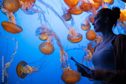 Obraz na plátně Woman watching exotic jellyfishes in an aquarium