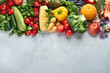 Assortment of fresh fruits and vegetables. Top view with copy space