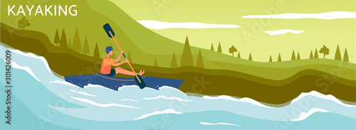 Boat and sportsman character on river background, flat vector illustration.