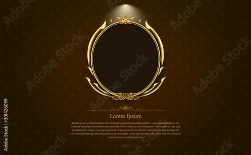 Leinwand Poster gold frame circle border picture and pattern gold thai art Thai art