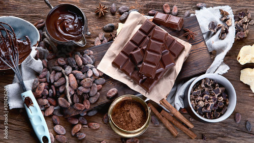 obraz lub plakat Cacao beans, powder, cacao butter, chocolate bar and chocolate sauce