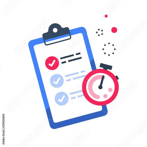 Fast services, check list and stopwatch, quick questionnaire, short survey Canvas Print