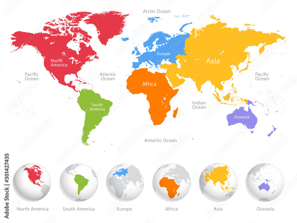 Fototapety, obrazy: World map divided into six continents. Each continent in different color. Simple flat vector illustration