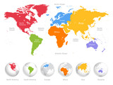 World map divided into six continents. Each continent in different color. Simple flat vector illustration