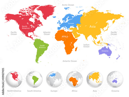 world-map-divided-into-six-continents-each-continent-in-different-color-simple-flat-vector-illustration