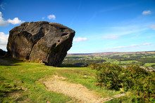 Landscape View Of The Cow And Calf Rocks At Ilkley Moor West Yorkshire