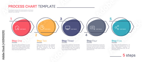 Obraz Clean and simple flat style linear vector infographic process chart template. Five steps - fototapety do salonu
