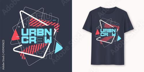 Obraz Urban crew abstract geometric graphic t-shirt vector design, typography - fototapety do salonu