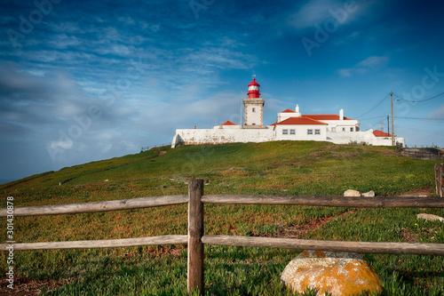 Foto auf AluDibond Landscape, Cape Roca on a steep rock on the shores of the Atlantic Ocean at daytime in Portugal