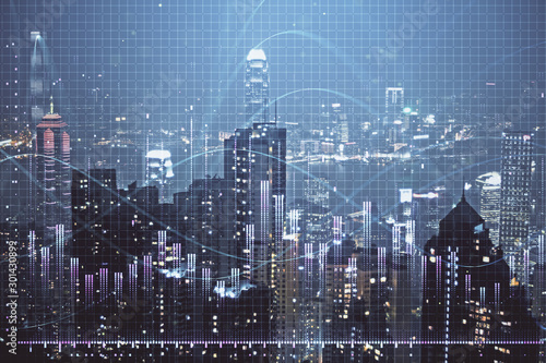 Double exposure of forex chart drawings over cityscape background Canvas Print