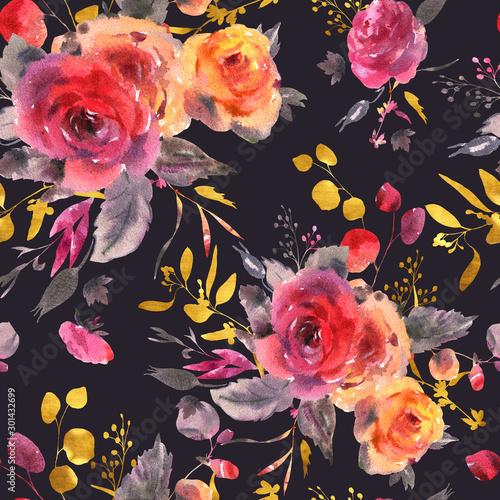 Leinwandbilder - Watercolor floral seamless pattern. Red, yellow, watercolor roses - flowers, twigs, leaves, buds