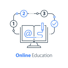 Online education, open book and computer monitor, internet resources, distant learning