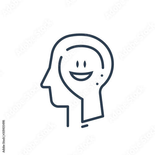 Stampa su Tela  Human head profile, cognitive psychology or psychotherapy concept, positive thin