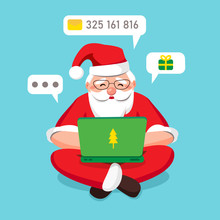 Blogger Santa Claus Carefully Answers Incoming Letters And Gift Wishes In A Laptop And Sits Cross-leggedly Relaxed On Blue Background Isolated. Around Minimal Chat Bubbles. Vector Illustration
