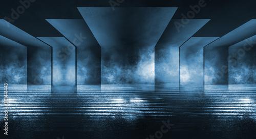 Fototapeta Background of empty stage show. Neon light and laser show. Laser futuristic shapes on a dark background. Abstract dark background with neon glow. obraz na płótnie