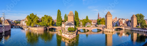 Panoramic view of the Ponts Couverts (covered bridges), a medieval set of bridges and defensive towers on the river Ill at the entrance of the Petite France historic quarter in Strasbourg, France Canvas Print