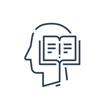 Human Head Profile And Open Book, Education Subject, Writing And Storytelling Concept