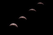 Composite Of Moon During The 2019 Super Blood Wolf Moon Lunar Eclipse