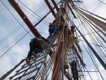 Climbing Square Rig Sail Boat