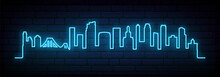 Blue Neon Skyline Of Brooklyn,...