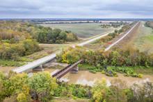 Highway Bridge And Trestle Of Abandoned Railway