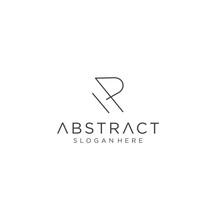 Monogram Letter R Logo With Thin Black Monogram Outline Contour. Modern Trendy Letter R Design Vector Illustration.