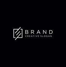 Square Monogram Letter E Logo With Thin Black Monogram Outline Contour. Modern Trendy Square Letter E Logo Design Vector Illustration.